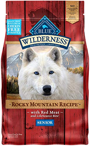 Blue Buffalo Wilderness Rocky Mountain Recipe High Protein, Natural Senior Dry Dog Food, Red Meat 4-lb