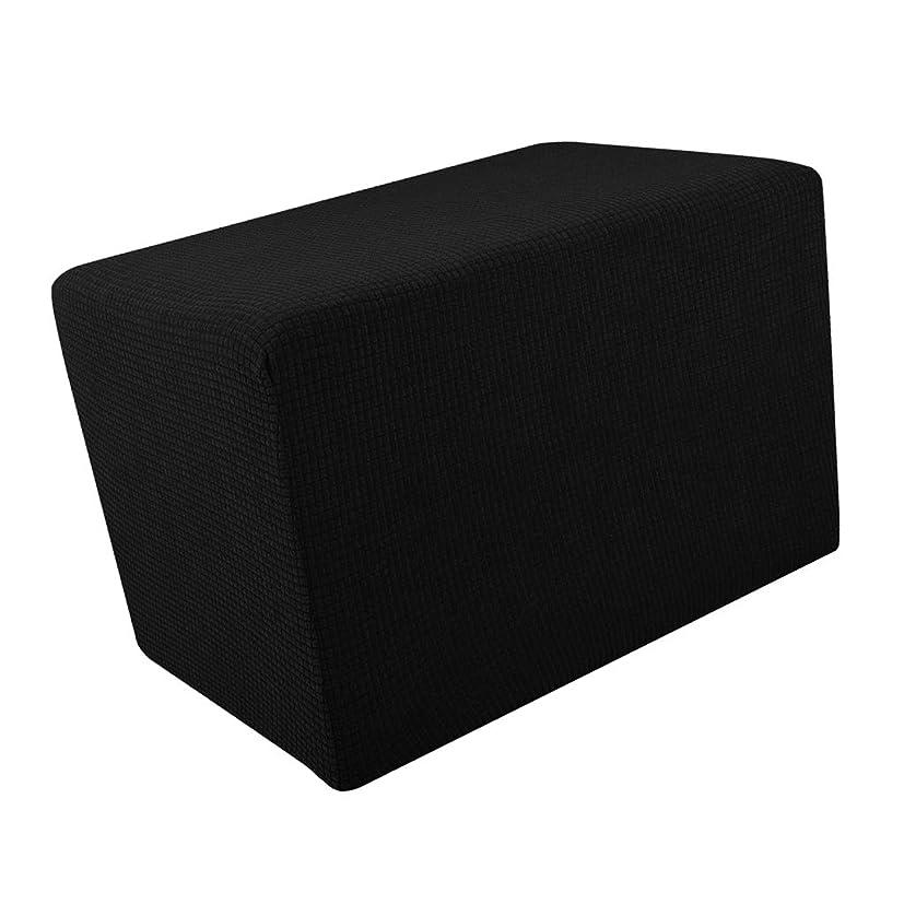 続編ポジション安心FutuHome オスマンカバー フットレスト ソファ スリップカバー 足置き台用カバー 洗える - ブラック
