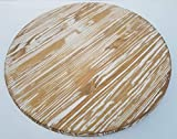 Large Distressed Wooden Lazy Susan Turntable Dessert 24' inch Cake Stand