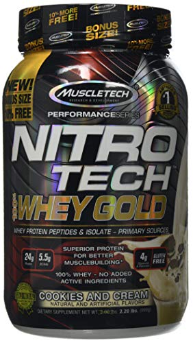 MuscleTech Nitro-Tech Whey Gold Protein Powder, Whey Isolate and Peptides, 24 Grams Protein, 5.5 Grams BCAAs, Easy to Mix, Tastes Great, Gluten-Free, Cookies & Cream, 999 g (31 Servings)