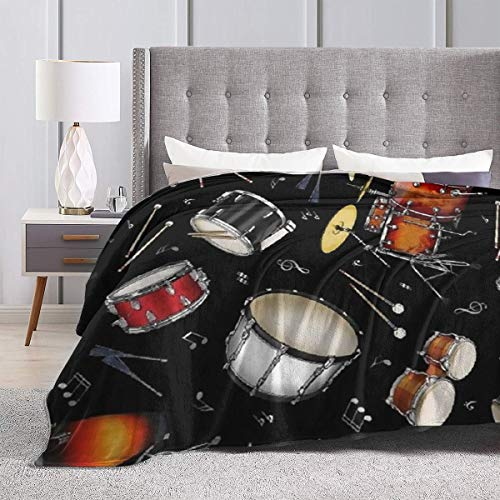 """Product Image 3: BONLOR Percussion Black Drum Throw Blanket Ultra Soft Thick Bed Blanket Soft Coral Flannel Blanket Micro Fleece Blanket for Sofa Couch Bed Chair Office Sofa Soft Blanket Home Bed Blankets 60""""x 50"""""""