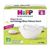 Hipp Biologique Délices De Lait Fromage Blanc Nature Sucré Dès 6 Mois - 6 packs de 4 coupelles de 100 G
