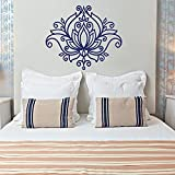 Hermosa calcomanía de pared de loto Yoga Mandala calcomanía de vinilo patrón marroquí Boho Floral adhesivo extraíble Mural 57x48cm