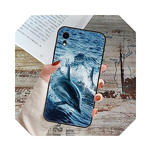 Para iPhone 11 12 8 Plus Mini Pro X XR XS Max 4 5 7 6 6S 8 Se Phone Case Black Cover Popular Cute Ocean Dolphins-S10-for iPhone X