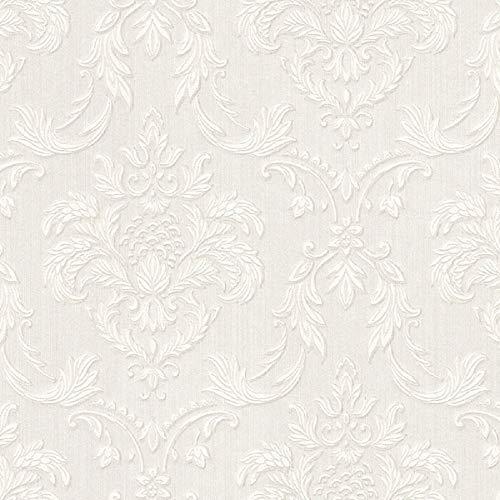 Casa Padrino Barock Textiltapete Weiß/Beige 10,05 x 0,53 m - Wohnzimmer Tapete im Barockstil - Hochwertige Qualität