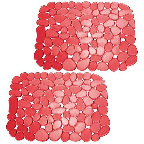 mDesign 2er-Set Spülbeckeneinlage zum Zuschneiden – praktische Spülbeckenmatte aus PVC für die Küche – Spülbecken Schutzmatte für Geschirr und Becken – Kieselsteinmuster in rot