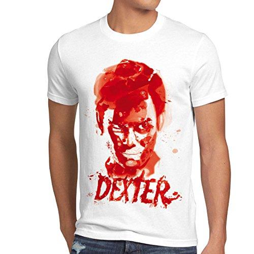 style3 Dexter Blutspur T-Shirt Herren Serie Mord Morgan Trinity serienkiller, Größe:M, Farbe:Weiß