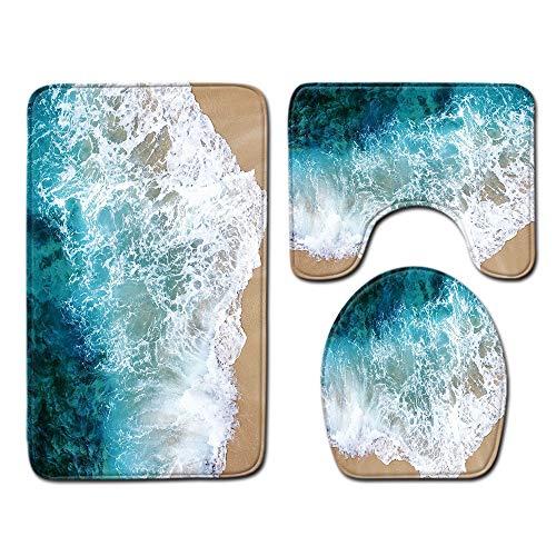 DREAMING-Playa Serie Baño Piso Estera Baño De Tres Piezas Juego De 3 Piezas Alfombra Alfombra De Baño Baño Alfombra Antideslizante 80cm * 50cm