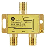 GE Digital 2-Way Coaxial Cable Splitter, 2.5 GHz 5-2500 MHz, RG6...