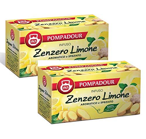 Pompadour 1913 Infusion Ginger Lemon Aromatic and Spiced 100% natural y sin cafeína - 2 x 20 bolsitas de té (72 gramos)