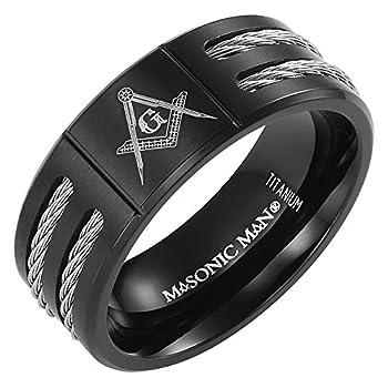 MasonicMan New Mens Black Titanium Masonic Ring Latin Engraving Inside