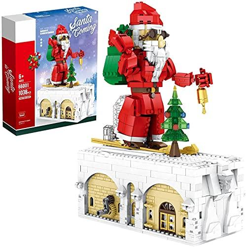 Kit di blocchi di natale, 1537 pezzi Modello di slitta di Natale con luce, regalo giocattolo di Natale compatibile con Lego Creator