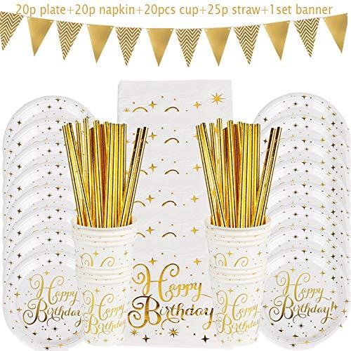 Globo de decoración de fiestaDecoraciones De Cumpleaños Juego De Vajilla Desechable Pajitas De Papel Tazas Platos Banner Servilletas Niño Niña Niños D