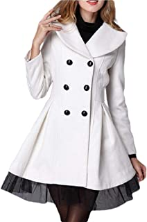 Women Swing Double Breasted Wool Pea Coat Mid-Long Long Sleeve Lapel Outwear