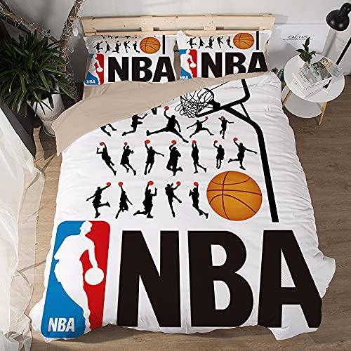 NBA Logo Pattern Funda de edredón Suave Juegos de 3 Piezas Funda nórdica Impresa 3D 2 Fundas de Almohada Juegos de sábanas de Microfibra 100% para fanáticos Baloncesto Decoración habitación los niños