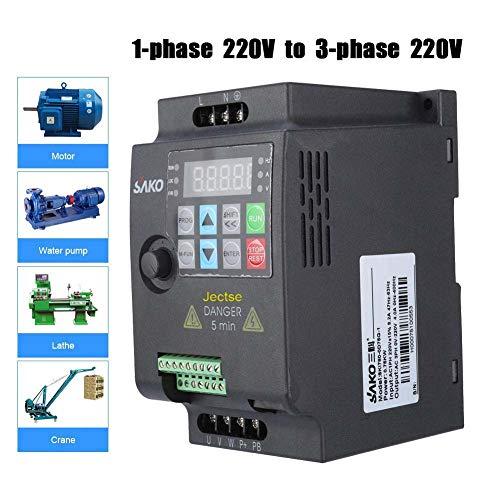 Frequenzumrichter 220VAC1.5KW,Jectse 1-phasig 220V bis 3-phasig 220V Mini VFD Inverter Vektorregelung VFD Drehzahlregler (220VAC1.5KW)