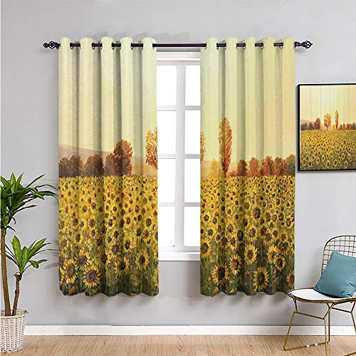 Pcglvie lakehouse decor collection Blackout Window Curtains, Curtains 72 inch length Repeatable use yellow ivory green brown ecru W72 x L72 Inch