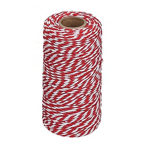 Vivifying 100m Rot und Weiß Bindfäden, Ideal zum Backen, Fleisch anrichten, Handarbeiten, Geschenke Verpacken an Weihnachten