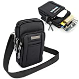 Leisure Nylon Cell Phone Small Shoulders Bag Crossbody Pouch Smartphone Cover Outdoor Pack for iPhone 11 Pro Max ,Galaxy S20 Plus S10 Plus - Black