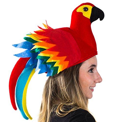 Tigerdoe Papageienhut - Papageienhut Jimmy Buffet - Neuheit Hut - Papageienkopf - Tierhut - Vogelkostüm Hut - - Einheitsgröße