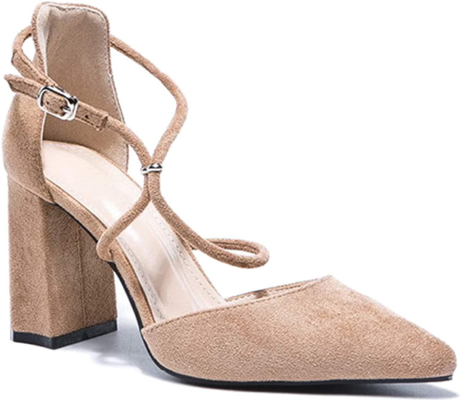 Uirend Women Heeled Sandals shoes - Ladies Pointed Block Heel Ankle Cross Strap Dress Pumps Suede Wedding Bridal Party Buckle Court shoes