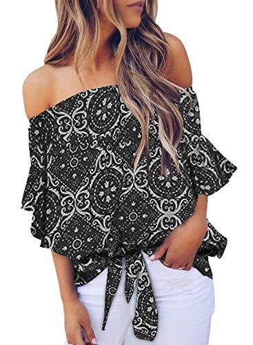 Asvivid Womens Bohemain Ethnic Floral Printed Off The Shoulder Shirt Bell Sleeve Tops Ladies Self Tie Summer Blouse L Black