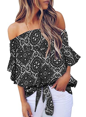Asvivid Womens Bohemain Ethnic Floral Printed Off The Shoulder Shirt Bell Sleeve Tops Ladies Self Tie Summer Blouse L Black