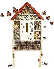 HelpAccess Casetta per Insetti, rifugio per Insetti con Tetto in Zinco – Non trattato, casetta in Legno Naturale per api, Coccinelle, Mosche e Farfalle, Hotel per api & Nido da Appendere