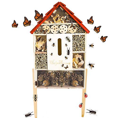 HelpAccess Insektenhotel aus Holz, Insektenhaus mit Standfüßen, Nisthilfe und Schutz für Verschiedene Fluginsekten (XL)