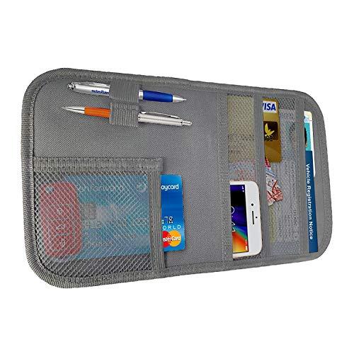 lebogner Car Sun Visor Pocket Organizer, Registration and Insurance Document Holder, Personal Belonging Storage Pouch for Trucks and Cars, Interior Accessories Pocket Organizer – Grey