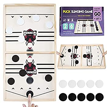 Guffo Board Games for Family Fast Sling Puck Game for Party Table Desktop Battle Winner Family Board Games Toys for Adults and Kids Wooden Slingshot Hockey Game with 10 Chess  Black&White