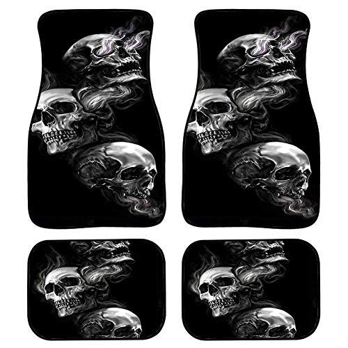 Woisttop Weiche Gummi-Auto-Fußmatten im Gothic-Totenkopf-Design, schwarz, 4 Stück, rutschfest, für vorne und hinten, Auto-Zubehör, Auto-Matten für Frauen, jedes Wetter
