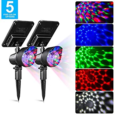 SUNWIND Solar Spotlights Outdoor Colored - Solar Powered Party Lights 4 Colorful LEDs Christmas Solar Lighting Adjustable Landscape Lighting for Party, Christmas Outdoor Garden and Holiday Decoration