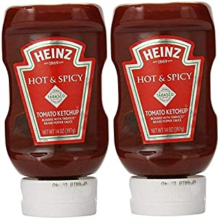 Heinz Hot & Spicy Tomato Ketchup with Tabasco (Pack of 2) 14 oz Bottles