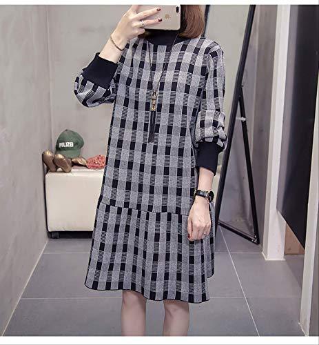 DAIDAIWLH Mujeres Largo Suéter Vestido Cuello Tortuga Manga Larga Sólido Color Vestido De Punto Pullovers Lattice Plus Tamaño