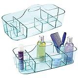 mDesign Juego de 2 cestas de baño con asa – Para usar como organizador de...