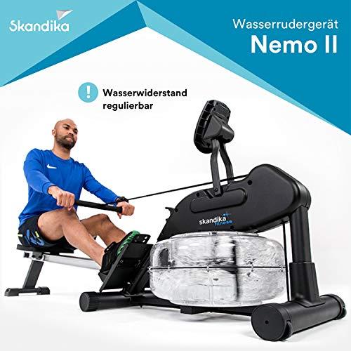 skandika Wasser Rudergerät Nemo II/III, Water Ruderzugmaschine mit regulierbarem Wasserwiderstand, klappbar, Rower mit 150 kg Benutzergewicht (LCD-Computer)