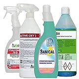 itidet Set per la Pulizia con Antimicrobico per Tutti Gli Ambienti della Casa Composto da 1 ITICHLOR Gel. 1 FOODSAN .1 SANICAL .1 San