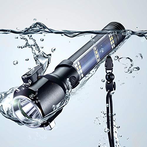 Delxo patriot flashlight Car Flashlight Solar Powered Tactical Flashlight Multi Function Outdoor Car LED Flashlight with 2000mAh Battery, USB Charger and Solar Charger, Portable Flashlight for Hiking