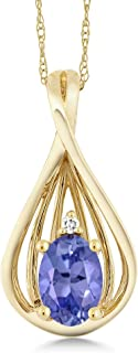 Gem Stone King 0.45 Ct Oval Blue Tanzanite and Diamond 10K Yellow Gold Teardrop Pendant With Chain
