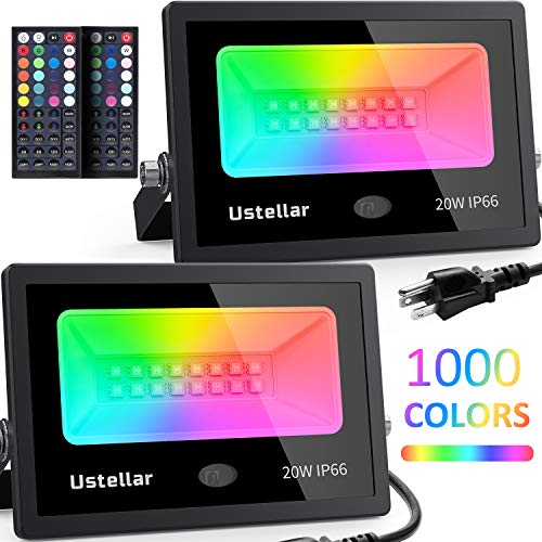 Ustellar 2 Pack 20w RGB LED Flood Light Color Changing Indoor Floodlight Up Light Remote IP66 Waterproof Dimmable RGB Spotlight Backdrop Lighting for Wall Yard Halloween Lights Outdoor Decoration