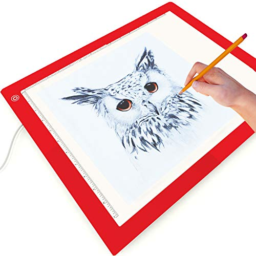 Picture/Perfect Best Light Box - Diamond Painting, Tracing, Weeding Vinyl - Large A3 Light Pad - Light Filter Prevents Eye Fatigue, 17x14 inch, Hi, Mid & Low Brightness, Tracing Paper Included [Red]