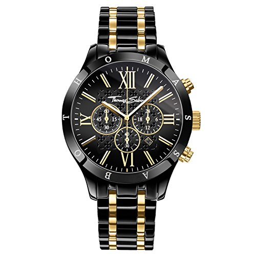 Thomas Sabo Herren Armbanduhr Chronograph Quarz Edelstahl WA0264-278-203-43 mm