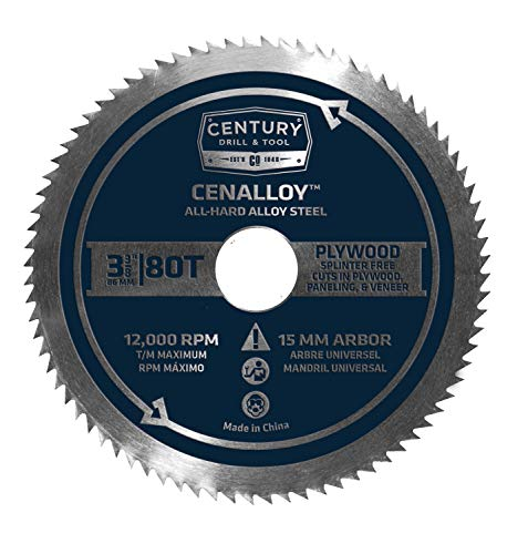 """Century Drill & Tool 08236 Cenalloy Plywood Circular Saw Blade, 3-3/8"""" by 80T"""