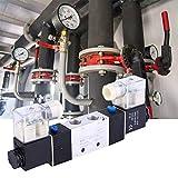 MOZUSA Válvula solenoide eléctrica, 4V220-08 1/4'Outlet de Entrada de 1/8' 1/8'Válvula de Aire de solenoide neumático de Escape 2 Posición Controlador magnético electromagnético de 5 vías (DC12V)