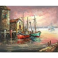 大人のための数字でペイント子供風景ボート絵ペイントDIY手描き油絵家の装飾アクセサリー40x50cmx1(フレームなし)
