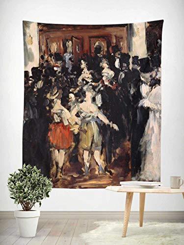 Tapiz Colcha Sábana de Picnic Decoración de la Pared Manta Arte de la,Alfombra de Picnic Bordes Reforzados para la Playa,1 pieza,Cuadro famoso, Manet-Masquerade at the Opera 130×150cm