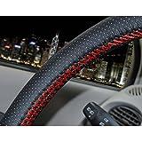 szss-car Universal piel de microfibra Auto Car Steering Wheel Cover antideslizante en color negro y...