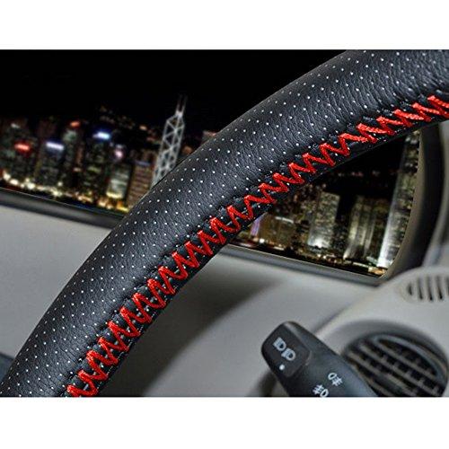 szss-car Universal piel de microfibra Auto Car Steering Wheel Cover antideslizante en color negro y con hilo de aguja de punto de 15 '