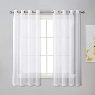 NICETOWN Sheer Window Panel Curtains - Grommet Top Sheer Drapes for Windows (2-Pack, 54 Wide x 63 inches Long, White)